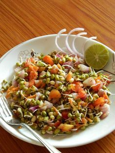Healthy Sprouted Mung Bean Salad Recipe | Indian Cuisine