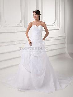 SWEETHEART ORGANZA OVER SATIN PRINCESS WEDDING DRESS WITH SURPLICE BODICE