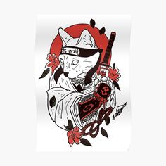 'Japanese Samurai Cat' Sticker by nextlevelpet Japan Tattoo Design, Sketch Tattoo Design, Japanese Tattoo Art, Japanese Tattoo Designs, Samurai Tattoo, Samurai Art, Kritzelei Tattoo, Demon Tattoo, Cool Tattoo Drawings