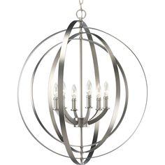 Shop Progress Lighting Equinox 6-Light Burnished Silver Chandelier at Lowes.com