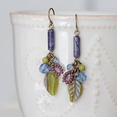 Purple Howlite and Green Leaf Cluster Earrings Brass Wire