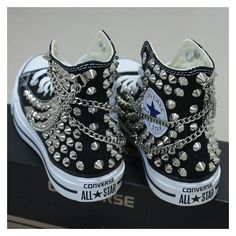 Converse ❤ liked on Polyvore featuring shoes, sneakers, chain shoes, kohl shoes, converse footwear, black trainers and black shoes