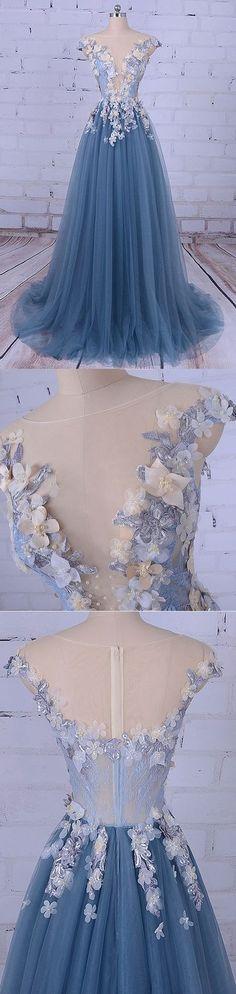 A-line Princess Deep V Neck/Illusion Neck Wedding Dresses, Floor length Prom Dresses G058