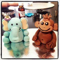 Monkey and elephant fondant figurines