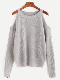 Jersey con hombros al aire - gris