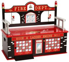 Shop for a Firefighter Bench Seat with Storage at Rooms To Go Kids. Find that will look great in your home and complement the rest of your furniture. #iSofa #roomstogo