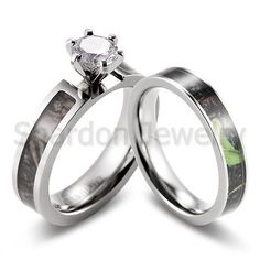 Amazing Details about Women GreenTree Camo Ring CZ prong setting engagement wedding ring set pcs