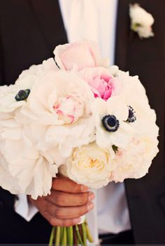 beautiful bouquet ... anemones to tie in black and white. Bridesmaids bouquet with black ribbon. Mine would just be filled with lush, blush peonies with a striped black & white ribbon holding them together. <3