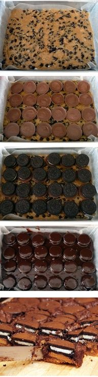 Omg this just took slutty brownies to a whole new level!-Chocolate chip cookie dough Peanut butter cup Oreo brownies... Could you please combine the treats I love the most into one amazing festival of tasty?!?!  amazing