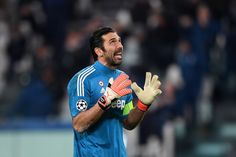 Gianluigi Buffon of Juventus reacts during the UEFA Champions League Round of 16 First Leg match between Juventus and Tottenham Hotspur at Allianz Stadium on February 13, 2018 in Turin, Italy.
