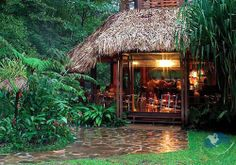 Tabacon Grand Resort, Costa Rica. A well known spot for weddings and of course for honeymooners, the resort features some world class cuisine with its two great restaurants Los Tucanes and Ave del Paraíso. But if you feel like staying in, you can enjoy the private Gala Dinner in a Bungalow.