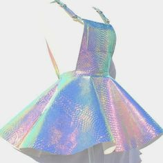 Renee Snakeskin Holographic Skirt Jumpsuit - Renee Snakeskin Holographic Skirt Jumpsuit Source by - Cute Casual Outfits, Cute Girl Outfits, Teen Fashion Outfits, Rave Outfits, Kids Outfits, Indie Outfits, Holographic Dress, Holographic Fashion, Holographic Nails