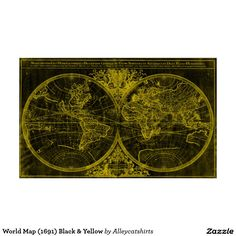 World Map (1691) Black & Yellow Poster