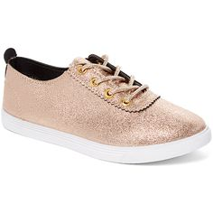 Rafaello Gold Sneaker featuring polyvore women's fashion shoes sneakers shiny shoes laced sneakers lace up shoes metallic sneakers gold lace up shoes