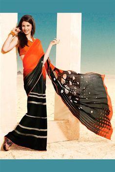 Orange and Black Printed Designer Saree with Blouse