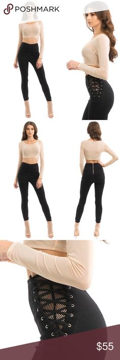BLACK HIGH WAISTED SIDE LACE UP PANTS Side lace up mesh jean leggings.  Back silver zipper closure Ankle side silver zipper High waisted 75% Cotton 20% Polyester 5% Spandex ALL PICTURES TAKEN EXCLUSIVELY FOR STYLE LINK MIAMI AND SHOWING ACTUAL PRODUCTS. PRICE FIRM. Style Link Miami Pants