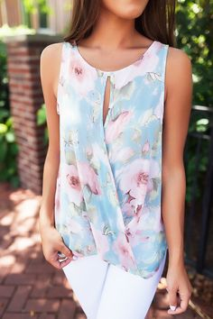 Blue/Pink Floral Sheer Draped Tank Summer Clothes, Summer Outfits, Cute Outfits, Dottie Couture, Sheer Drapes, Beautiful Clothes, Summer Fun, Floral Tops, Fashion Ideas
