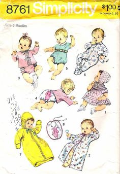 Vintage 1970 Simplicity 8761 Babies' Layette Sewing Pattern Size 6 months
