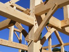Our timber frame construction joinery utilizes oak pegged mortise and tenon joinery. No metal splines or brackets are used.