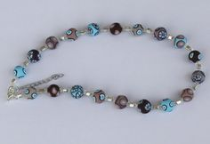 Beaded necklace in brown and turquoise polymer by PolyAndClayed, $35.00