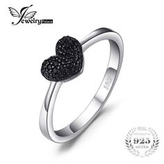 #JewelryPalace #Fashion 0.14ct Natural Black Spinel Love Heart #Rings For #Women 100% 925 Sterling Silver #Wedding Gifts Fine #Jewelry