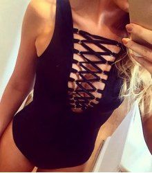 Sexy Style Plunging Neck Solid Color Hollow Out Swimwear For Women (BLACK,XL) | Sammydress.com Mobile