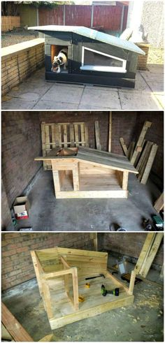 How To Build Pallet Kennel With Sun-deck – A Dog House Tutorial - 45 Easy DIY Dog House Plans & Ideas You Should Build This Season #easydeckstobuild
