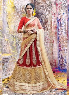 Women's Maroon Striking Lehenga Choli With Lace Work In Traditional Look This attire is nicely made with Butta Work & Lace work.