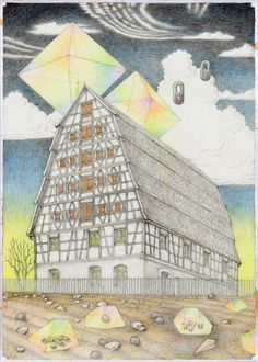 Torsten Slama. Schwabach Storehouse for Light Goods (Spalt, BezirksamtSchwabach), 2012. Pencil, colored pencil on paper, 16.5 x 11.7 inches / 42 x 29,7 cm.