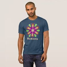 """Featuring a Kinetic Collage kaleidoscope composition created from a psychedelic light show screen capture image. The style and color of the shirt can be changed to suit your taste. The greeting """"Namaste"""" expresses your wish to honor the light in others as they do in you. When you wear this T-shirt for your yoga practice you will be in balance with the universe and a more complete being, and really cool too. Over 3000 products at my Zazzle online store. Open 24/7 World wide!"""