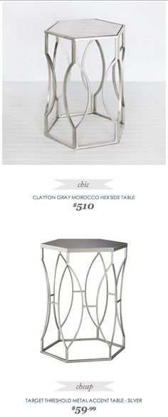 #CopyCatChicFind #ClaytonGray Morocco Hex Side #Table $510 - vs - #Target #Threshold Metal #Accent Table $60