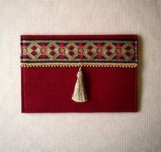 Handmade Felt Fabric Claret Red Ethnic Handbag by BOHOCHICBYDAMLA