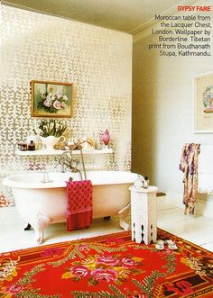 A #Moroccan-style #Metallic #Gold, Hot #Pink, #Red Bathroom