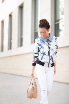 Floral printed bomber jacket in aquamarine colors
