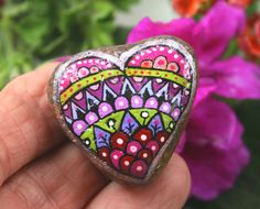 """Hand Painted Stone Mandala """"Hearts of Stone"""" Collection, Colorful Small River…"""