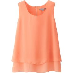 UNIQLO Georgette Sleeveless Blouse (21 BRL) ❤ liked on Polyvore featuring tops, shirts, tank tops, blouses, blusas, light orange, ruffle hem top, orange shirt, sleeve less shirts and red top