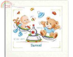 Vervaco PN-0147087 - Sampler de Nascimento - Cross stitch Comunicação / Download - Cross stitch Patterns Digitalizado-PinDIY -