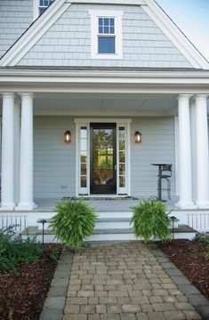 Discover the stunning possibilities for your home with James Hardie® fiber cement siding. Explore Light Mist if you like this siding color. Exterior Paint Colors For House, Paint Colors For Home, Cottage Exterior Colors, Exterior Siding Colors, Craftsman Exterior, Modern Farmhouse Exterior, Light Blue Houses, Grey Houses, Bungalow