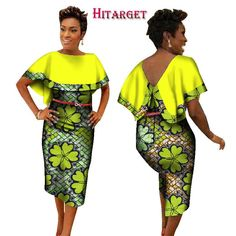 BintaRealWax New Style 2017 African Dresses for Women African Print Traditional Clothing Knee-length Dress Plus Size African Dresses For Women, African Print Dresses, African Print Fashion, Africa Fashion, African Attire, African Wear, African Fashion Dresses, African Women, African Outfits