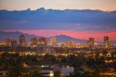 Midtown Phoenix Skyline at Night – Dan Sorensen Photography – Phoenix is a beautiful city with terrific weather, a diverse selection of restaurants a grid-like road system smooth as glass. I moved to Phoenix in 1997 for college and have loved living here ever since. I took this photograph of downtown Phoenix during a beautiful sunset from the roof the Optima Biltmore Towers. The sun had gone down about ten minutes before and left behind this beautiful pink glow above the ...