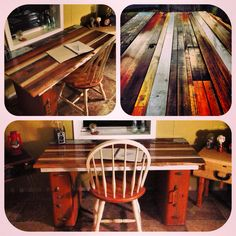 Table top made of reclaimed wood with vintage samsonite suitcases for legs. Growler Domestics