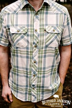 The Durango men's button down shirt by Buffalo Jackson Trading Co. Short-sleeved & western yoked, you can easily dress it up or go casual. mens fashion | summer style