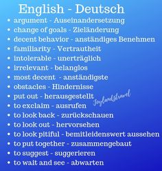 German and English Vocabulary German Grammar, German Words, Englisch Für Dummies, Learn French, Learn English, Words In Other Languages, Deutsch Language, Germany Language, German Language Learning