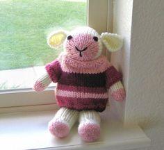 Stuffed Toy Lamb Hand Knit Stuffed Animal Pink Baby Girl Plush Doll Kids Holiday Toy