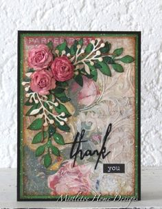 Thank you card with 3D roses (Sizzix - Tim Holtz dies, paper, stencil)
