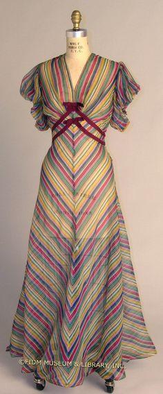 Bright striped day dress, Depression Era, empire waist, short sleeve, ribbon accents, circa 1936