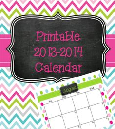 THE most adorable calendar! FREEBIE 2-page layout 2013-2014 Aug-July