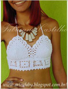 Fabianne Castilho: Top Cropped em crochê