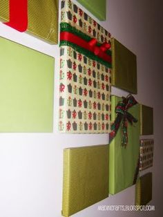Cute idea, wrap photo frames for Christmas decor!