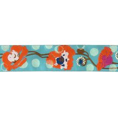 "1 1/2"" Anna Maria Horner Raindrops on Poppies Orange/Turquoise from @fabricdotcom  Designed by Anna Maria Horner, this decorative jacquard ribbon is perfect for apparel trim, home décor trim, quilt trim and crafts!"